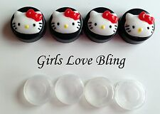 HELLO KITTY RED BOW License Plate Frame Screw Covers - Black Caps