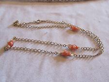 "Avon Gold Tone & Orange Bead Chain Necklace - 23"" long"
