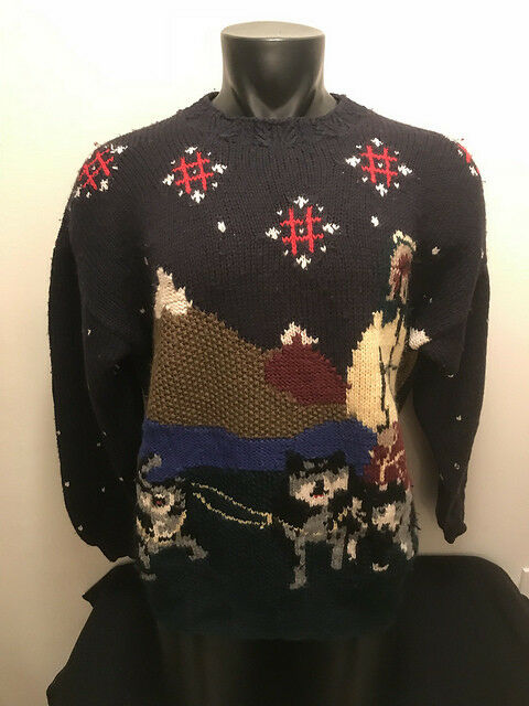 Vtg Natutica Iditarod Snow Dog Sled Sleigh Race Eskimo Sweater Mens size Large