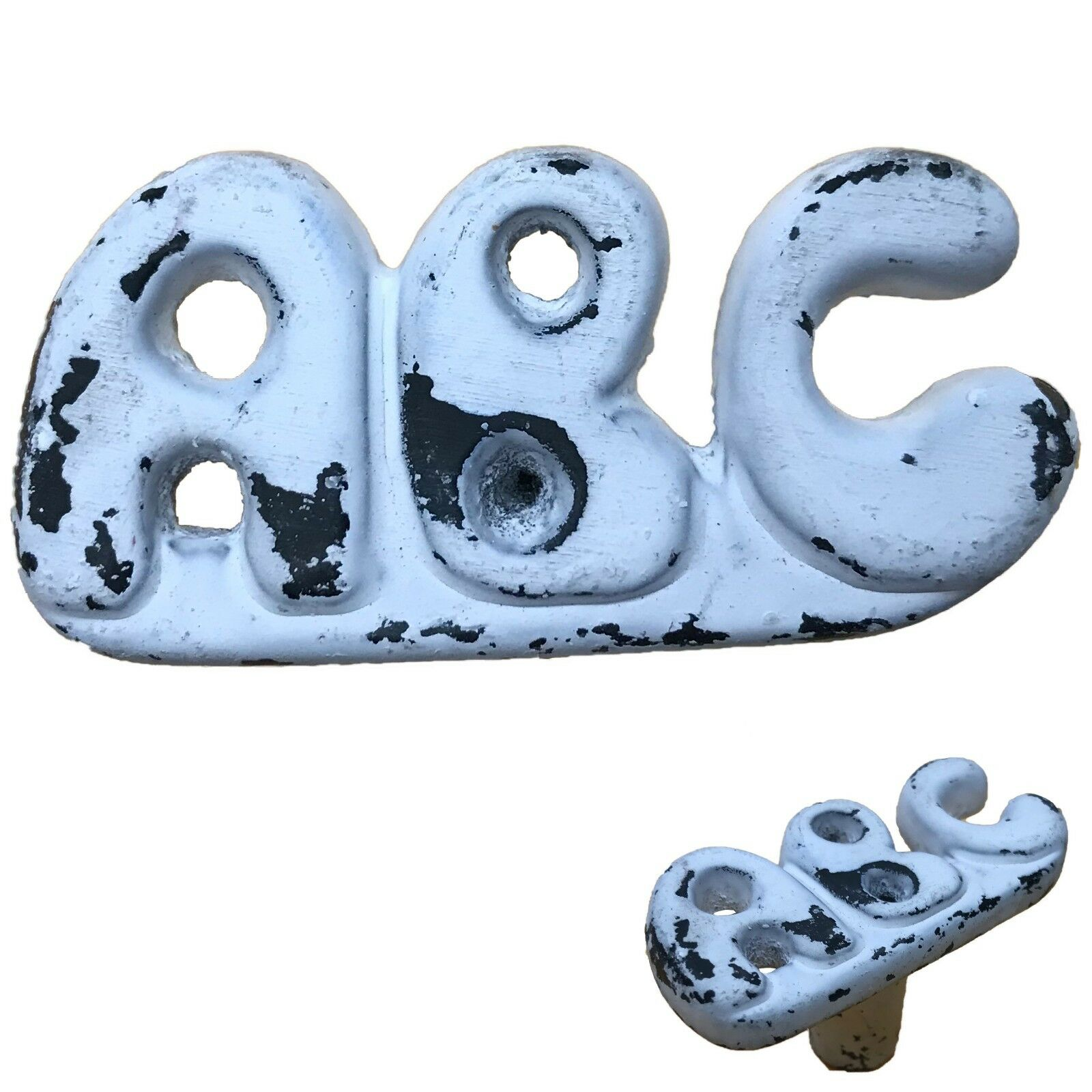 2.25 -  ABC  Letter - Iron Antique Reproduction Knob Handle-Cabinets Door BB-397