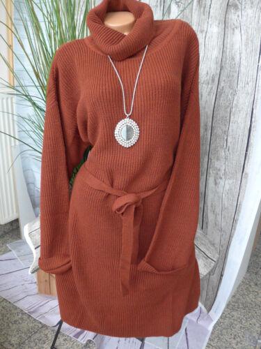 NEU Sheego Strickkleid Long Tunika Kleid Gr 40-48 mit Gürtel Rost Ton 548