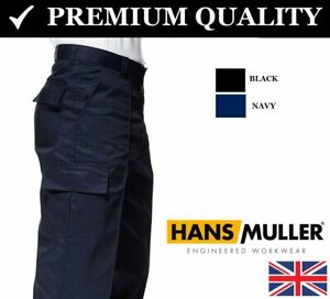 Para-hombres-pantalones-de-combate-de-carga-de-trabajo-talla-28-a-52-Negro-Azul-Marino-Pantalones