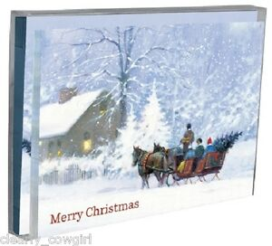 8578-TREE-FREE-HORSE-DRAWN-CARRIAGE-CHRISTMAS-CARD-SET-12-LOVELY