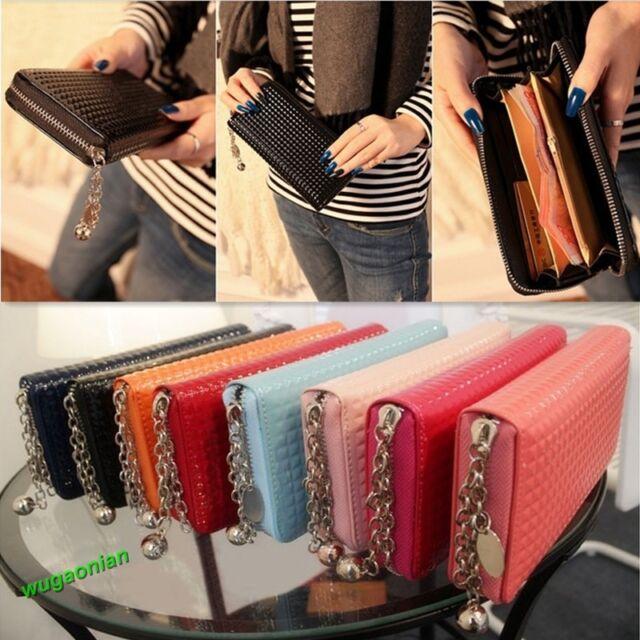 Stylish Women Zip PU Leather Colorful Clutch Case Lady Long Handbag Wallet Purse