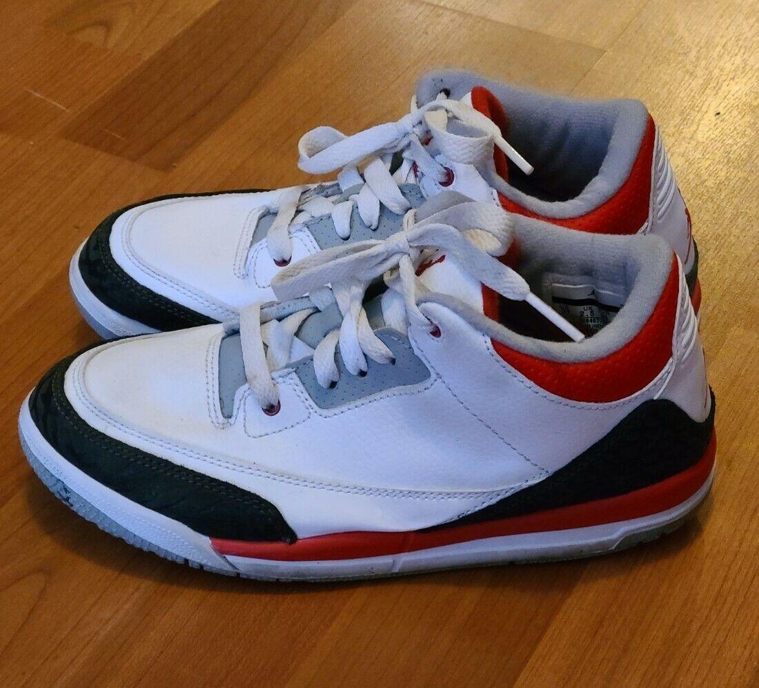 (429487-120) PRE-SCHOOL KID'S AIR JORDAN RETRO 3 III WHITE/FIRE RED/BLACK SZ 3Y