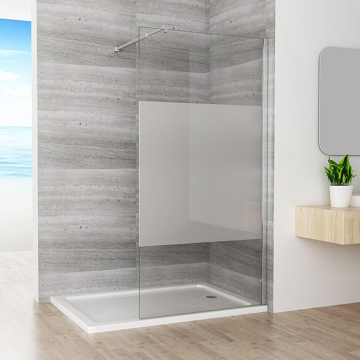 80 x 200cm Walk in Dusche Duschabtrennung Duschwand 10mm Nano teilsatiniert Glas