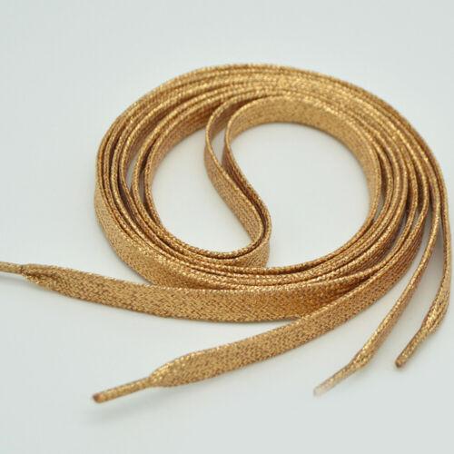 Shoelaces of Sneakers Metallic Glitter Shiny Gold Shoelace Flat Shoe Laces  Hot
