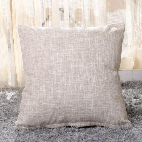 Vintage Cotton Linen Pillow Case Sofa Waist Throw Cushion Cover Solid Home Decor