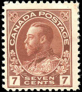 Mint-H-Canada-7c-1911-25-F-Scott-114-King-George-V-Admiral-Issue-Stamp