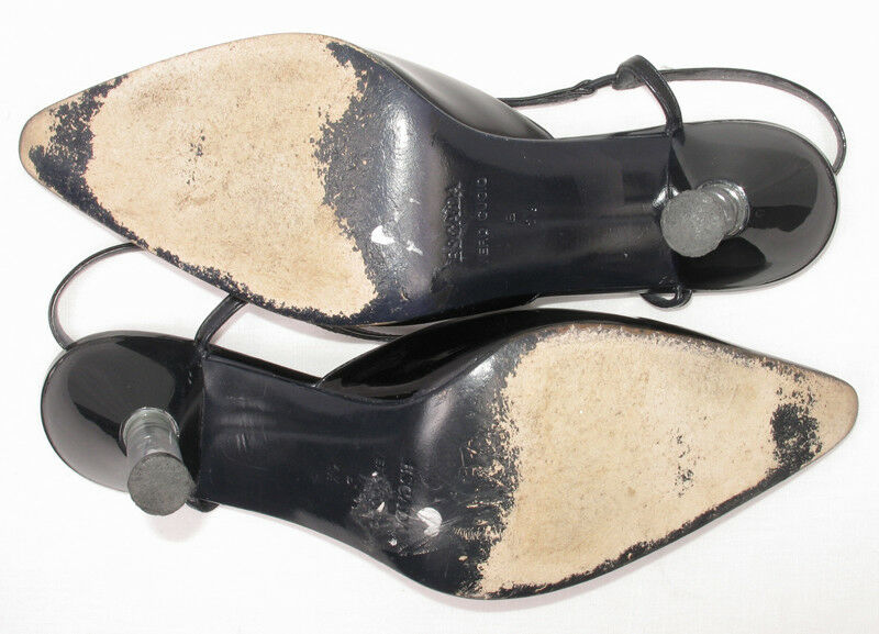 Escada Schwarz Lack Leder Sz. Hoch Durchsichtig Absatz Schuhe Sz. Leder 6.5 B ad5f04