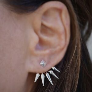 Sterling-Silver-925-Pyramid-Spike-Earrings-Rocker-Chic-Edgy-Unique-Gift-Women
