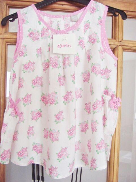 Filles 100% coton rose et blanc floral robe d'été Âge 18-24 mois NEUF