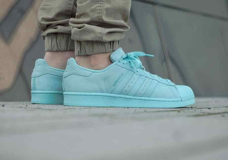 Adidas Originals SUPERSTAR SUEDE MONO size 11.5 Clear Aqua  nt nmd boost Cheap women's shoes women's shoes