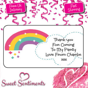 Personalised-Kids-Rainbow-Birthday-Party-Thank-You-Stickers-Pk-24-Yr-Name