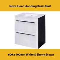 Nova Floor Standing Basin Unit - 600 X 400mm White & Ebony Brown Vtfeb600
