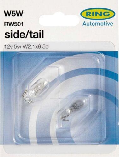 rw501 Vauxhall Frontal Lateral De Luz bombillas-Par W5w 12v 5w Anillo de alta calidad