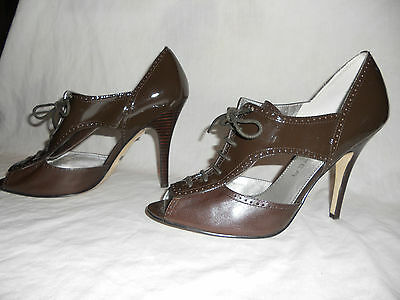 94e517ba232 MARC FISHER - Brown Leather Oxford Lace-up Heels w Sexy Cut-outs