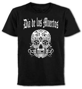 Dia-De-Los-Muertos-Mexicano-Calavera-Camiseta-Gotico-Rocker-Punk-emo