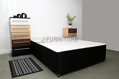 5ft King Size Divan Bed Base In Black White Cream With One