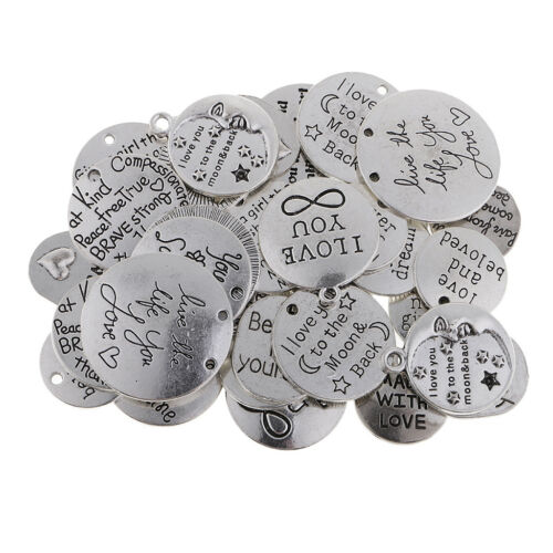 34Pcs Assorted Silver Inspiration Words Charms Crafts Tags Mixed Pendants