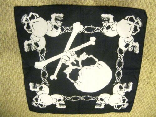 Large Skull /& Crossbones in Red Cross Bandana Double Side HeadWrap Wristband-New