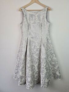 Adrianna Papell Metallic Floral Jacquard Tea Length Fit & Flare Dress Size 14