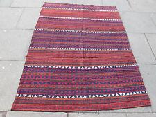 Old Tribal Nomadic Hand Made Persian Oriental Red Wool Jajim Kilim 195x140cm