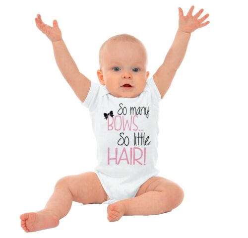 Many Bows Little Hair Funny Adorable Shower Babies Girls Gerber Infant Onesies