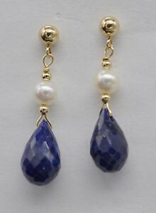 #BE 14K Solid Gold Natural Blue Sapphire with Cultured Pearl Drop Earrings