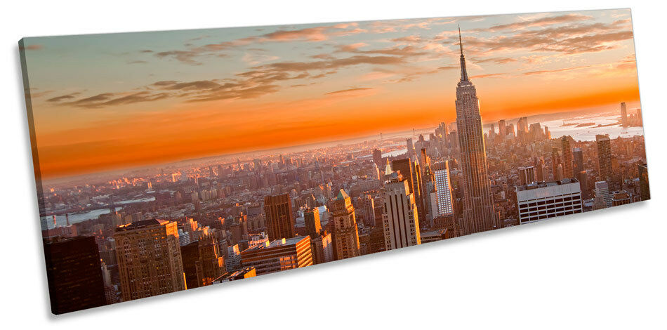 New York City Orange Sunset CANVAS WALL ART Panoramic Framed Print