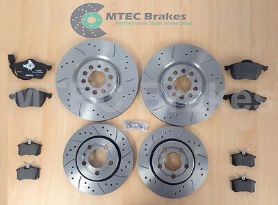 Audi TT 1.8T 225bhp 99-05  Front Rear MTEC Drilled Grooved Brake Discs /& Pads