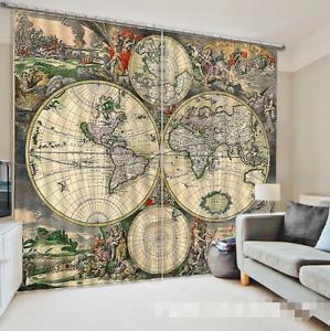 Mapa de Tierra 3D 435 Cortinas de impresión de cortina de foto Blockout Tela Cortinas Ventana Reino Unido