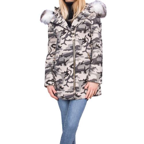 Cappuccio 8059 Camouflage Eco Bianca Cappottino Cappotto Giaccone aa Pelliccia qZwvUUt