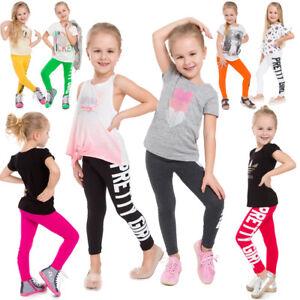 Kinder Voller Länge Baumwolle Leggins Hübsch Mädchen Bedruckt Bequem Hose Dzprt