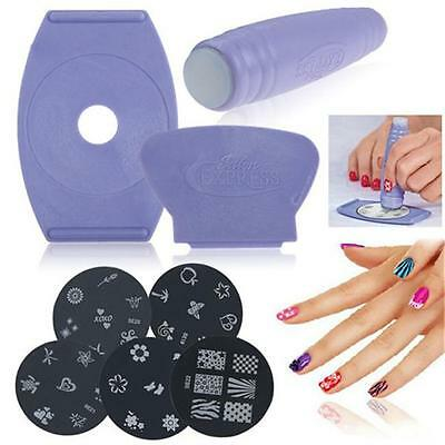 1Set New Nail Art Stamping Stamper Kit 5 Styles Polish Stamp Design Decoration W