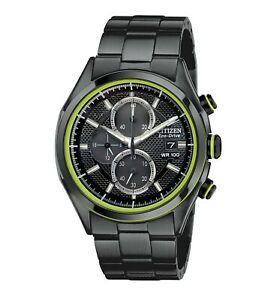 Citizen-Eco-Drive-HTM-Men-039-s-Chronograph-Green-Accents-40mm-Watch-CA0435-51E