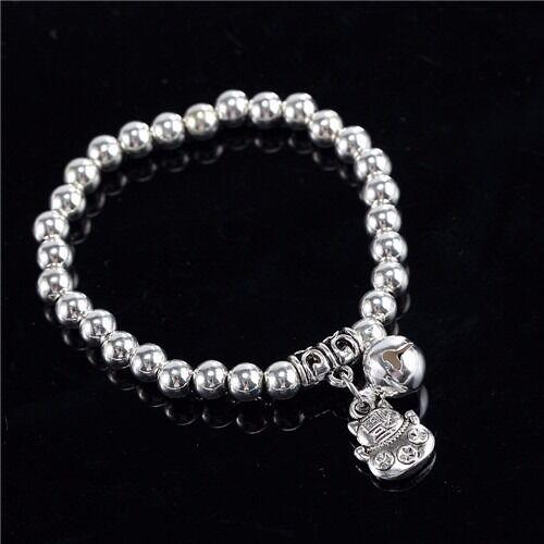 Vintage n silver Bell Heart Charm Bracelet Beads String Chain Bangle women