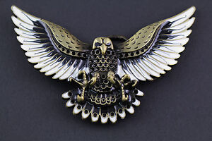 GOLDEN BROWN FLYING EAGLE BELT BUCKLE METAL WESTERN COUNTRY AMERICAN ... 2dbc14a9751