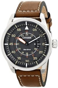 Citizen-Eco-Drive-Men-039-s-Avion-Gray-Dial-Brown-Leather-Band-45mm-Watch-AW1361-10H