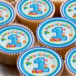 Image Is Loading 24 X Happy 1st Birthday One Cup Cake