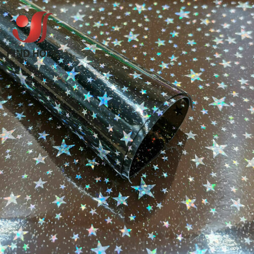 Estrella de vinilo PVC Transparente Holográfica Tela Hágalo usted mismo material hecho a mano arcos Craft