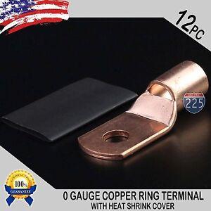 12-PCS-1-0-AWG-0-GA-Copper-Ring-Terminal-Heat-Shrink-5-16-034-Hole-Lug-Connector-US