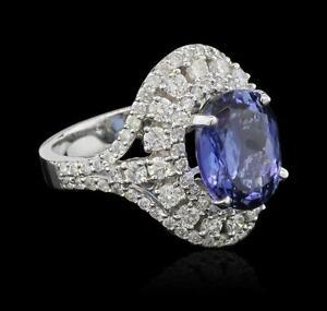 5-96-ctw-Tanzanite-and-Diamond-Ring-14KT-White-Gold-Lot-497
