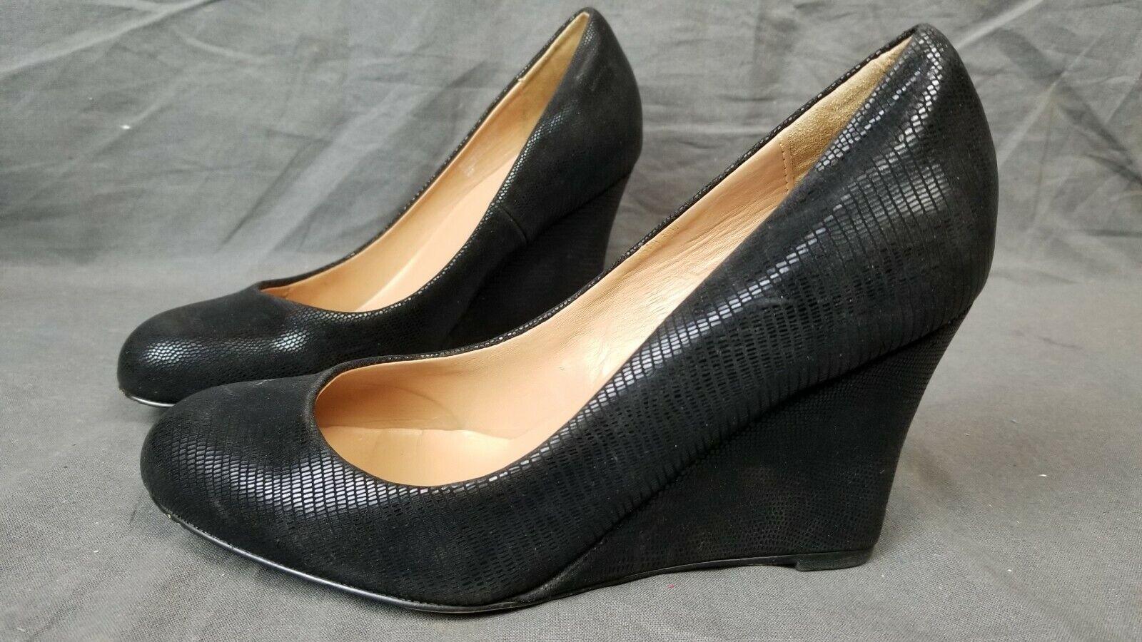 Ann Taylor Black Snake Print Wedges Heels 3.125  US 6M EU 36 UK 4