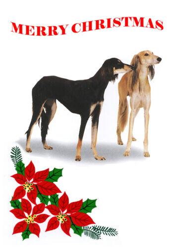 SALUKI SINGLE DOG PRINT GREETING CHRISTMAS CARD