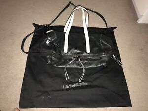 Expandable And Crossbody Handbag Tote Black Karl White Lagerfeld Bag Leather qaFppx