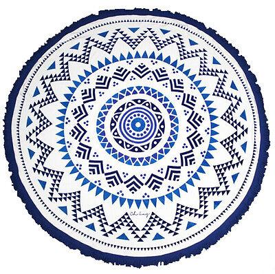 Round circle aztec beach towel mandala rug 100% cotton velour with tassels 150cm