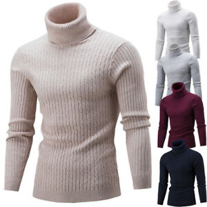 best value best authentic 2018 sneakers Details about Fashion Mens Roll Neck Long Sleeve Cotton Top Twisted Turtle  Neck Sweater Tops