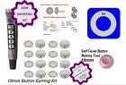 100 Earrings DIY KIT Fabric Self Cover Button 19mm Stud Stainless Steel Earrings