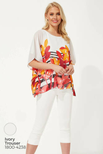 Floral Stripe Print Chiffon Top 3//4 Sleeve Overlay Roman Originals Women